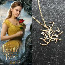 SHIPS FAST Beauty And The Beast Rose Tree Bell Pendant Necklace 2017 Newest Gift