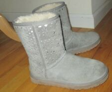 $175 Gray Ugg Classic Short Silv Perforated Suede Leather Boots Size 7