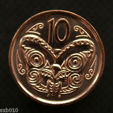 New Zealand 10 Cents 2014, km117a, Unc, Queen, butterflies, Maori mask.