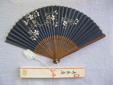 VINTAGE JAPANESE FOLDING FAN~DARK BLUE~CUT OUT FLOWERS~WOOD/PAPER~STILL IN BOX