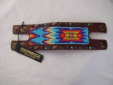 LEATHEROCK HANDMADE USA LEATHER W/ BEADING/TURQUOISE BRACELET NATIVE WESTERN NWT