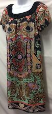 ANNA SUI Anthropologie Peasant Boho Scarf Floral 100% Silk Shift Dress Sz 4