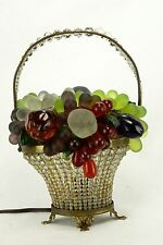 Antique Czech Beaded Glass Fruit Basket Lamp ca1920