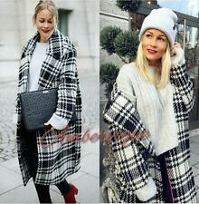 ZARA NEW CHECK MAXI DOUBLE BRESTED WOOL COAT SIZE M