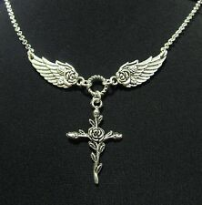 """Rose Angel Wings and Rose Cross Necklace 18"""" + 2"""" extender"""