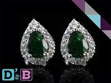 Elegant Pear Drop Emerald Green 925 Sterling Silver CZ Stud Earring Fine Jewelry