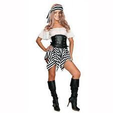 Women Sexy Pirate Stripe Fancy Dress Black-White Hen Doo World Book Day Costume