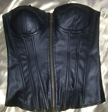 NWOT! RUE 21 Size MEDIUM Faux LEATHER Zip Front Lace Up Back Boned CORSET SEXY!