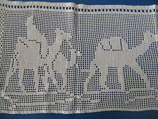 Häkelgardine (2) Baumwolle gehäkelt Handarbeit Orient Kamele 165x40 creme CB57