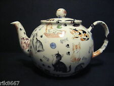 Heron cross pottery chats chats chats 6-8 tasse english tea pot