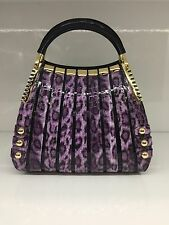 NEW SERENADE PATENT GENUINE LEATHER SMALL MONICA PURPLE LEOPARD HANDBAG WITH TAG