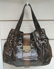 NEW $2050 Jimmy Choo Ramona Large Leather Snake-Embossed Shopper Browns