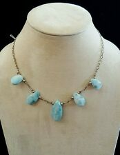 Necklace Five Large Larimar Drops on Sterling Silver Chain Handmade USA