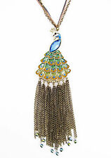 BETSEY JOHNSON Jungle Peacock Fringe Tail Pendant Long Y Necklace