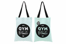 New Mint Green Canvas Shopper Shopping Tote Bag with Gym and Tonic Slogan