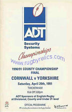 CORNWALL v YORKSHIRE 1991 COUNTY CHAMPIONSHIP FINAL RUGBY PROGRAMME