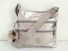 BNEW Authentic KIPLING Kylee HB6520 Crossbody Sling Travel Bag Silver Beige