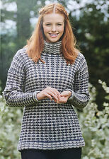 KNITTING PATTERN Ladies Textured Roll Neck Sweater Slip Stitch Jumper Rowan