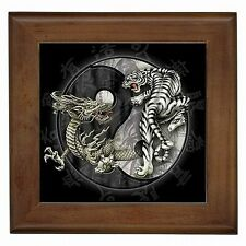 Yin Yang Dragon vs White Tiger Decorative Framed Wall Tile New