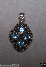 Vintage Sterling 925 silver Blue Sapphire Filigree Scroll cut out necklace CNA