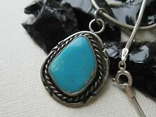 Vintage Old Pawn Navajo Turquoise & Sterling Pendant on a 925 Sterling Necklace