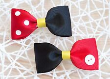Handmade Cutie Ribbon Mickey And Minnie Mouse Inspired Bows Girls Hair Clips