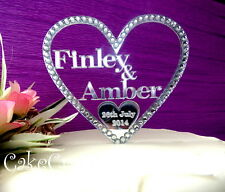 Mirrored Heart Acrylic Personalised Wedding cake topper decoration with crystals