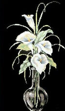 14ct Counted Cross Stitch kit Kits I6 Open WHITE Lily Lilies in vase NEW GIFT