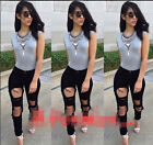 NEW Sexy Women Destroyed Ripped Distressed Slim Pants Boyfriend Jeans Trousers