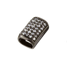 Curved Tube Slider Charm with Crystals Fits Regaliz 20mm Pack of One (F24/5)
