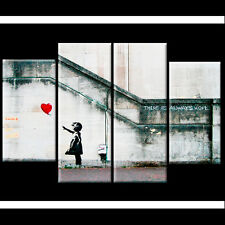 Extra Large Banksy Canvas Prints Balloon Girl 110cm XL Red UK