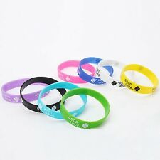 10 x Mixed Color Silicone Rubber Wrist Bands with GOOD LUCK & CLOVER(LB-310286)