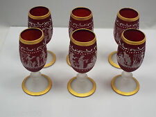 Aperitif Crystal Red Cordials w/ Roman/Greek Helenic Motif Gold Trims Set of 6
