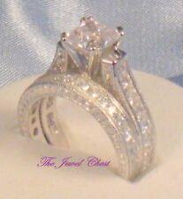 3CT Princess Diamond cut Antique Solitaire Engagement Ring Bridal Set White Gold