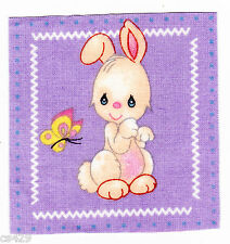 "3"" PRECIOUS MOMENTS PETS BUNNY BUTTERFLY  ANIMAL FABRIC APPLIQUE  IRON ON"