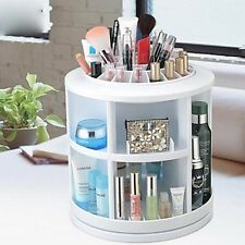 360 Degree Rotating Acrylic Cosmetics Storage Box White Makeup Organizer Case