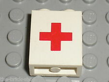 LEGO Panel 1 x 2 x 2 with Red Cross Pattern ref 4864ap02 / Set 545 6356 6523