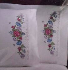 Bucilla LACE FLORAL GARLAND Stamped Cross Stitch Pillowcases 65326 2 Pillowcases
