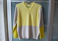REISS yellow grey block colour wool knit sweater ~ S