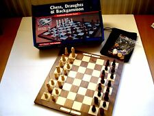 * TRADITIONAL WOODEN CHESS, DRAUGHTS AND BACKGAMMON SET For 2 Players *