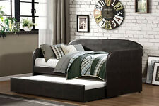 NEW BLANCHE DARK BROWN ESPRESSO BYCAST LEATHER TWIN DAYBED w/ TRUNDLE