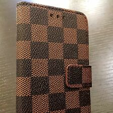 For iPhone 7 - Brown Checker Plaid Leather Card ID Wallet Diary Pouch Case Cover