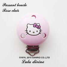 Pince / Clip en bois, attache tétine, passant boucle, Hello kitty : Rose clair