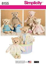 SIMPLICITY SEWING PATTERN 21 1/2 INCH STUFFED BEARS WITH CLOTHES 8155 A