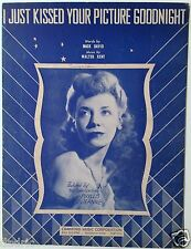 """1942 WWII SHEET MUSIC """"I JUST KISSED YOUR PICTURE GOODNIGHT"""" HOLLYWOOD CANTEEN"""