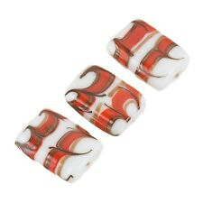 White Rectangle Glass Beads Red/Gold Pattern 18x15mm Pack of 3 (A68/1)