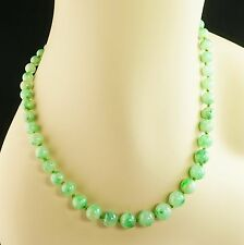 Graduated Apple Green Mottled Jade Bead 14K Yellow Gold Clasp Necklace