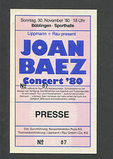 1980 Joan Baez Unused Full Concert Ticket Boblingen Germany Diamonds And Rust