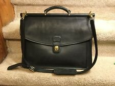 Vintage Coach 5266 Beekman Black Leather Messenger Bag Brass Hardware Briefcase