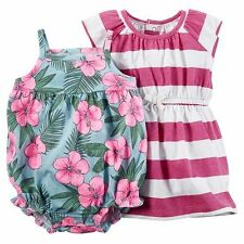 Baby Girl Carter's Striped Dress & Floral Romper Set Size 6 Months NWT
